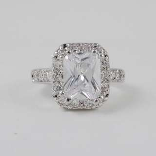 CT CUBIC ZIRCONIA EMERALD CUT ENGAGEMENT RING