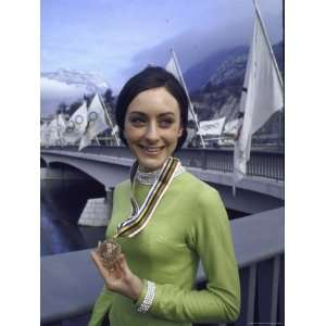 Peggy Fleming Holding Her Olympic Gold Medal for Figure Skating