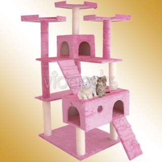 Brown White Beige Pink Cat Tree Condo Furniture Scratch Post Pet House
