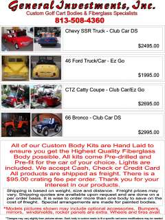 Custom Classic Golf Cart Bodies Kits   Do it Yourself Kits EZ GO Club