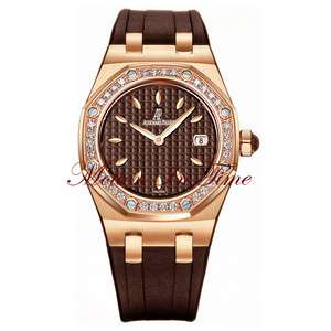 Piguet Royal Oak Ladies Diamond Rose Gold Chocolate REF# 67621OR