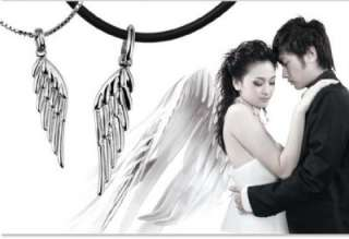 LN26 925 Silver I Love You Forever Angel Wings Pendants Wedding Couple