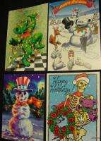 GRATEFUL DEAD BEAR XMAS CARDS greatful art 1996 Jerry Garcia lights