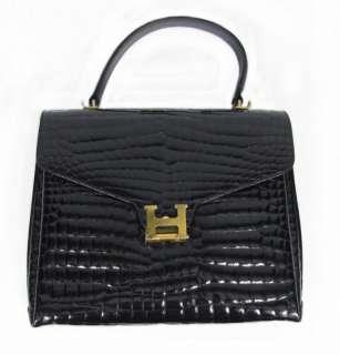 Vintage Pelletterie Italy Black Patent Alligator Leather Purse Handbag