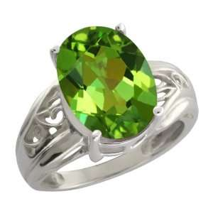 00 Ct Envy Green Oval Mystic Quartz and 10k White Gold Ring Jewelry