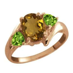 Ct Oval Whiskey Quartz and Green Peridot 14k Rose Gold Ring Jewelry