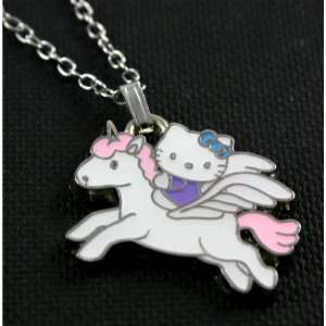 Gorgeous Hello Kitty Flying Unicorn Charm Necklace Silver
