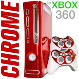 RED CHROME SKIN for Xbox 360 system faceplate mod kit
