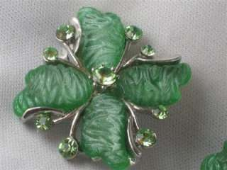 Stunning Carved Green Plastic / Lucite & Rhinestone Earrings   Clip On