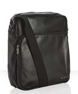 Ben Sherman black faux leather Wet Look flight bag