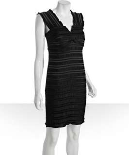 Donna Morgan black stretch pleated sateen striped dress