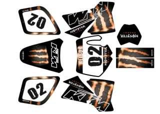 KTM SX 50 XC GRAPHIC KIT STICKER FRONT PLATE CUSTOM DECAL MONSTER