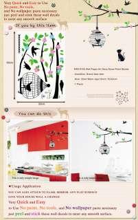 KRS 0105 BIRD & TREE HOME ART MURAL DECO WALL STICKER