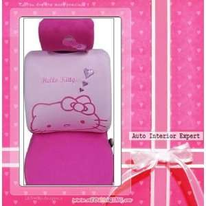HELLO KITTY HEARTS UNIVERSAL CAR SEAT COVER SET PINK H17 Automotive