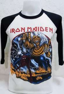 Iron Maiden Vtg. Rock Nice Cool Thin&Soft Elastic Jersey Baseball T