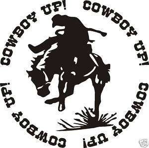 COWBOY UP BRONC RIDER DECAL STICKER SADDLE ROPE SPURS