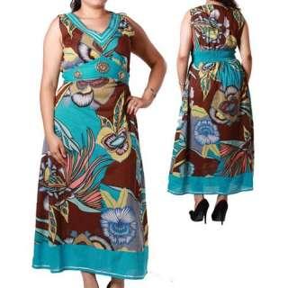 Plus Size Pins Sleeveless Sun Dress Blue MAGIC 1X 3X