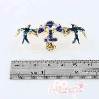 Fashion Beautiful Two Finger Holes Ring Bird Swallow & Anchor