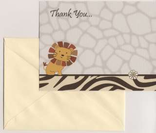 CoCaLo Nali Jungle Baby Shower Thank You Cards   Neutral   Lion