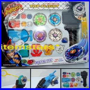 Beyblade Metal Fusion String Rip cord Launcher Gyroscope Toy Set D 4