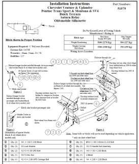 2005 09 PONTIAC MONTANA TRAILER TOW HITCH & WIRING KIT