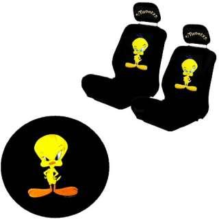 Tunes Tweety Bird Yellow Black Low Back Bucket Car Seat Covers Set